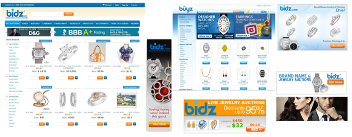 Bidz Historical Brand Display